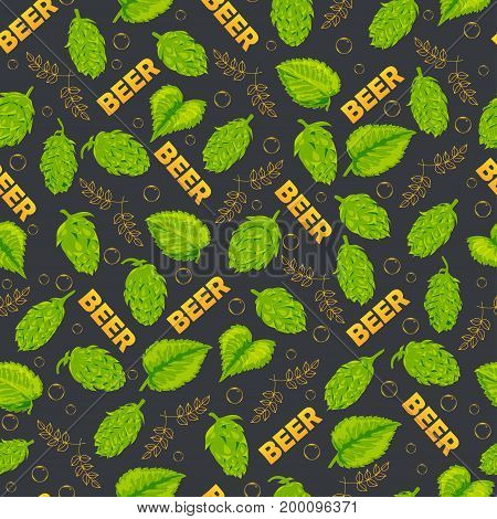 Seamless pattern on the theme of a drink beer. Hops bubbles text. Vector illustration. Hand drawing.