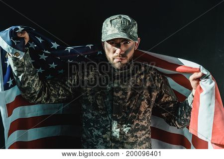 Soldier With United States Flag