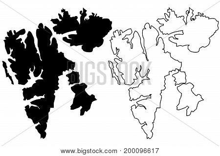 Svalbard map vector illustration , scribble sketch Spitsbergen Islands