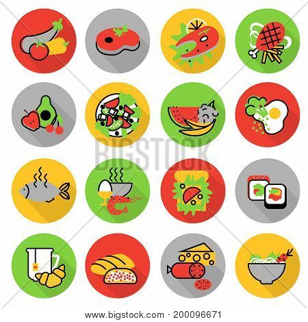 Modern flat thin line design vector illustration icons set of homemade food and restaurant meals for graphic and web design