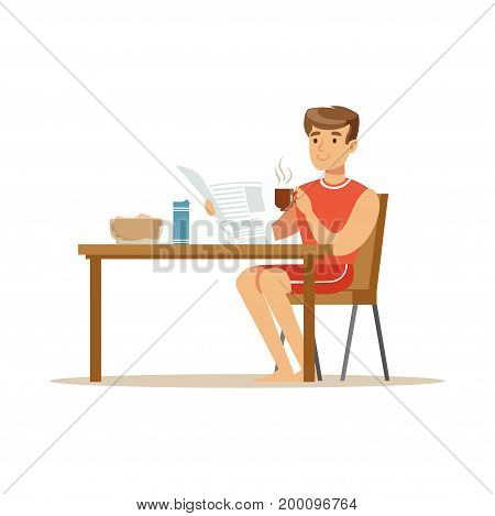 Happy smiling man character reading newspaper while having breakfast vector Illustration on a white background