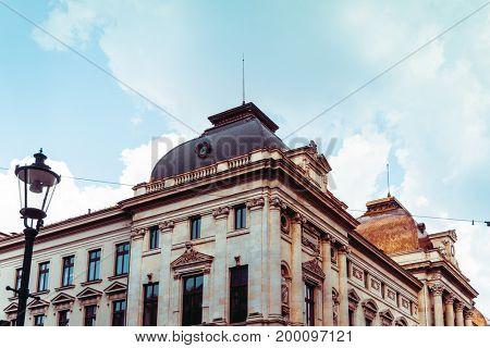 street view of downtown in Bucharest, Romanian