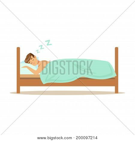 Happy man character sleeping in his bed, people resting vector Illustration on a white background
