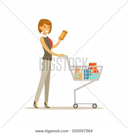 Beautiful young woman character pushing supermarket shopping cart with groceries vector Illustration on a white background
