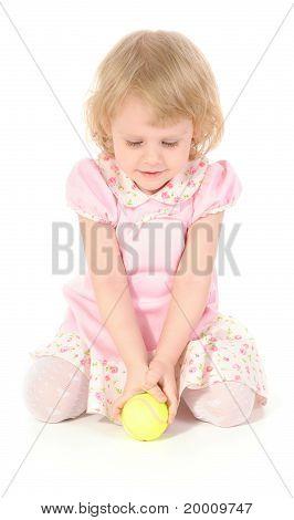 Little Girl And Tennis Ball.