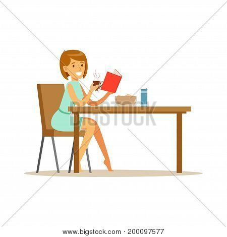 Beautiful young woman character reading bok while having breakfast vector Illustration on a white background