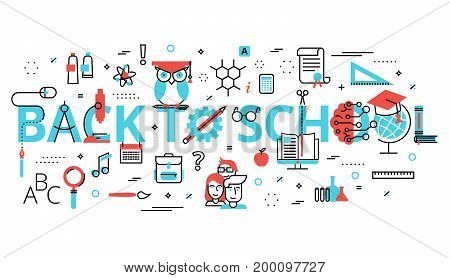 Modern flat thin line design vector illustration concept of education process with words back to school for graphic and web design