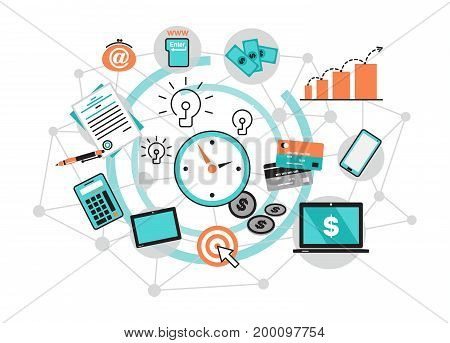 Modern flat thin line design vector illustration infographic concept with icons of online business internet marketing idea office and finance objects on modern background for graphic and web design