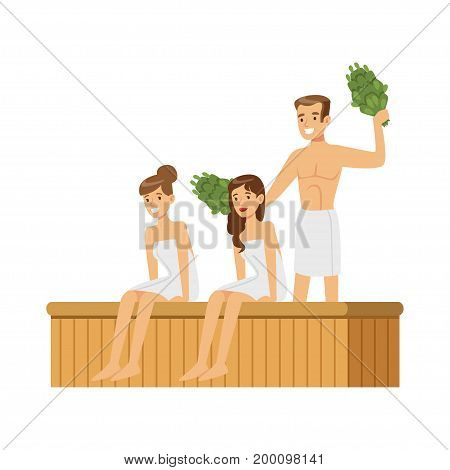 People wearing towels steaming with birch broom in sauna steam room, spa procedures colorful vector Illustration on a white background