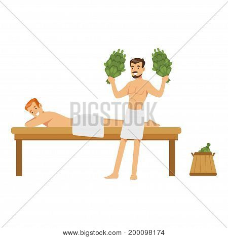 Smiling man wearing towel massaging another man with birch broom in sauna steam room colorful vector Illustration on a white background