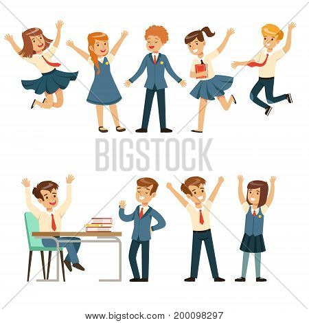 Cute pupils in blue school uniform having fun at school set, back to school, education concept colorful vector Illustrations on a white background