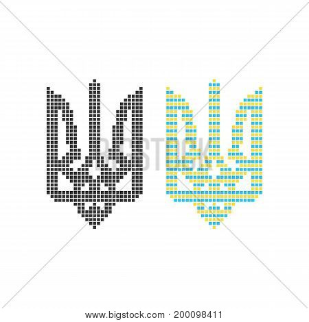 black and colored pixel art ukrainian emblem. concept of blazonry, symbolism, 8-bit icon, heraldry, adornment. isolated on white background. flat style trend modern logo design vector illustration