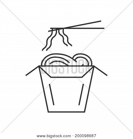 noodles in thin line box with chopsticks. concept of foodbox, korean fastfood, wok cooked, cafe emblem, spice vegetarian. isolated on white background. linear style logo design vector illustration