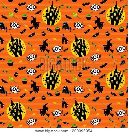 Abstract Seamless Pattern For Girls Or Boys. Creative Vector Background With Whitch, Halloween. Funn