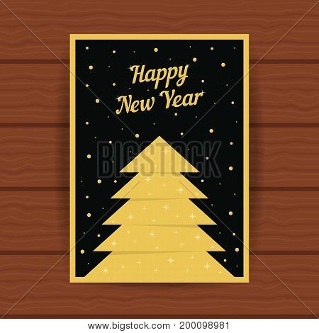 happy new year with golden greeting card. concept of 2017 cristmas card, headline, glitter decor, booklet cover, festival decorative, party, placard. flat style trend modern design vector illustration