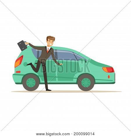 Hurrying man character running to his car, businessman is late vector Illustration on a white background