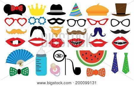Photo booth accessory collection. Props retro party set. People face fake. Subjects for a photo shoot session. Children's entertainment game. Vector illustration mustache glasses hat monocle tobacco pipe fan nipple.
