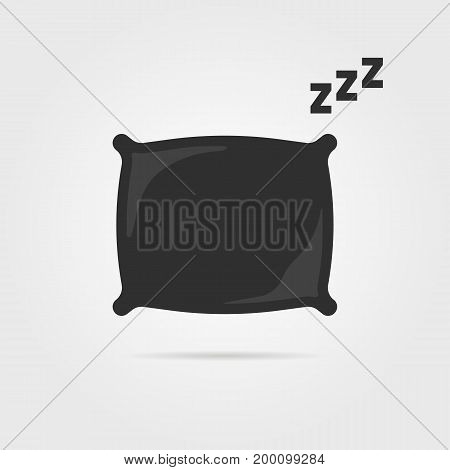 black pillow with sleep zzz icon. concept of memory effect pillow, good morning, bedding, domestic, cloth. isolated on gray background. flat style trend modern logotype design vector illustration