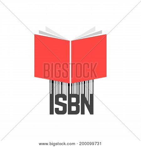 red book with isbn bar code. concept of booklet, ebook, commercial standard literature, open book logo, press. isolated on white background. flat style trend modern logotype design vector illustration