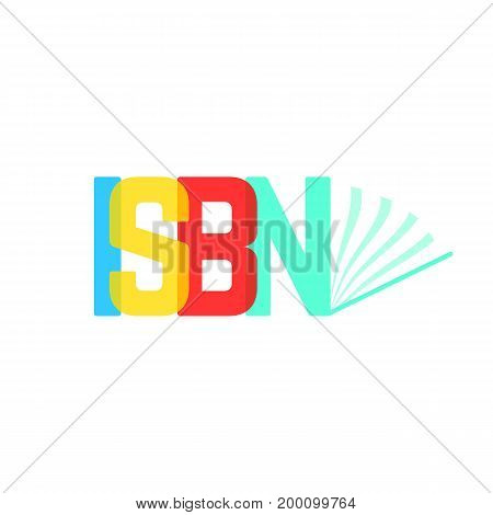 transparent isbn sign like opened book. concept of booklet, ebook, commercial standard literature, press. isolated on white background. flat style trend modern logotype design vector illustration