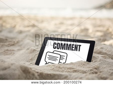 Digital composite of Comment text and chat graphic on tablet screen in sand on beach
