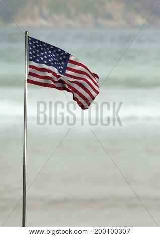 Digital composite of USA flag in the beach