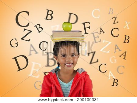 Digital composite of Many letters around Girl with books and apple on head in front of orange background