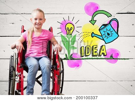 Digital composite of Disabled girl in wheelchair with colorful idea graphics