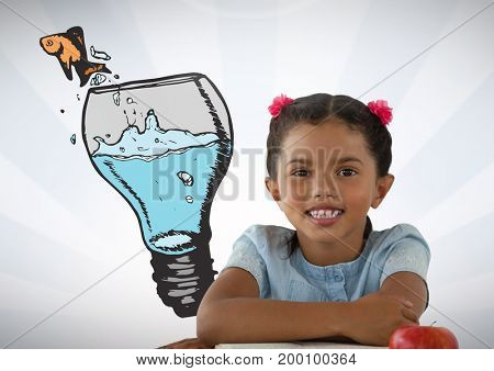 Digital composite of Girl with idea glass bulb and fish