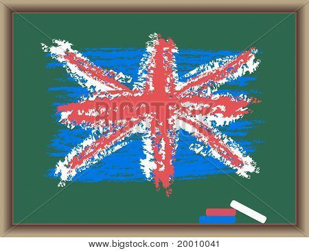 Flag Of England On A Blackboard