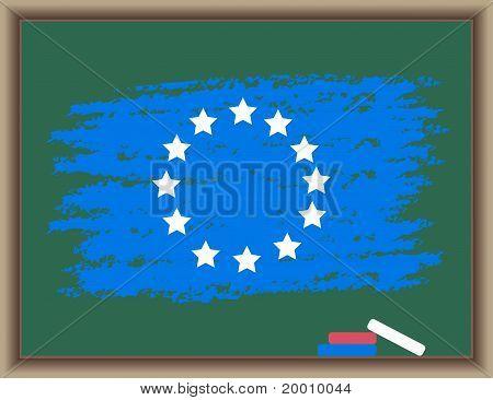 Flag Of Europe On A Blackboard
