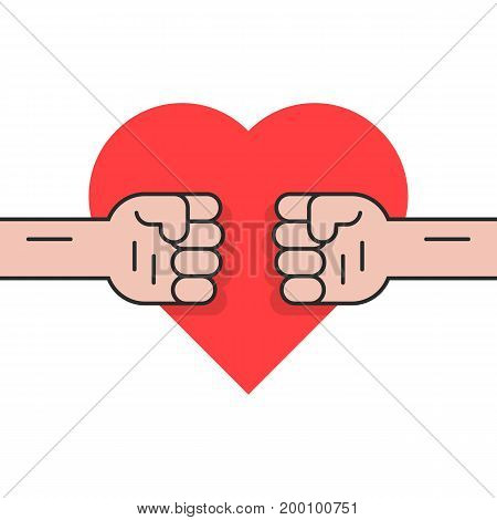 fight for love with two fists. concept of revolution, rebellion, protest, crime, jealous, envy, valentine day, family quarrel. isolated on white background. flat style trend design vector illustration