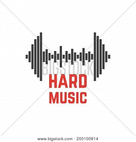 equalizer icon like dumbbell. concept of vol, fitness room banner, eq dj, amplifier concert, activity. isolated on white background. flat style trend modern company logotype design vector illustration