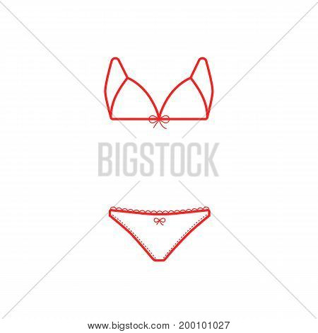 red thin line swimsuit. concept of fashionable, sunbath, holiday, seaside, tankini, knickers, apparel, rest. isolated on white background. linear style trend modern logo design vector illustration