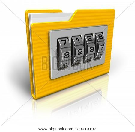 Security concept: file folder with combination lock