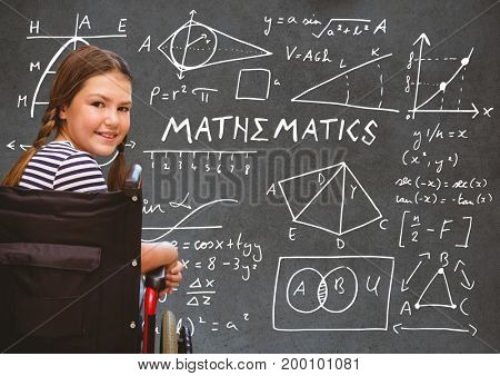 Digital composite of Disabled girl in wheelchair in front of blackboard with mathematics drawings