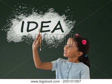 Digital composite of Student girl at table writing against green blackboard with idea text
