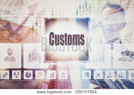 A coloured artwork business Customs collage concept.