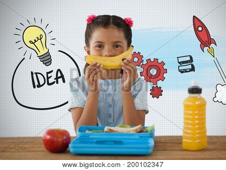 Digital composite of Girl at desk with healthy lunch and idea graphics