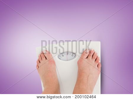 Digital composite of Weighing scales feet with purple background