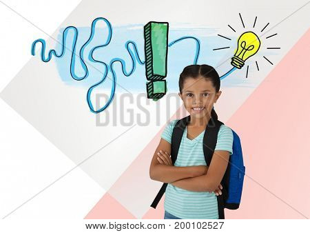 Digital composite of Schoolgirl with colorful idea light bulb graphics