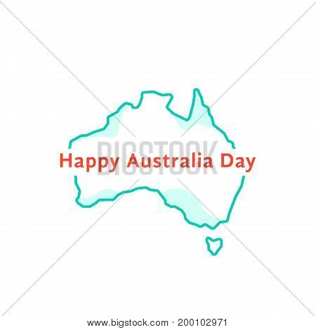 happy australia day with green continent. concept of memorial, culture, geography, 26th jan month, imprint army workforce. isolated on white background. flat style logo design vector illustration