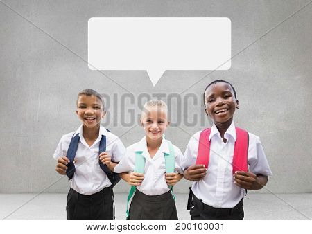 Digital composite of Students with speech bubble against grey background