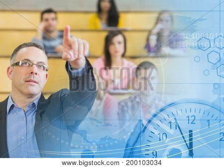 Digital composite of University teacher with class