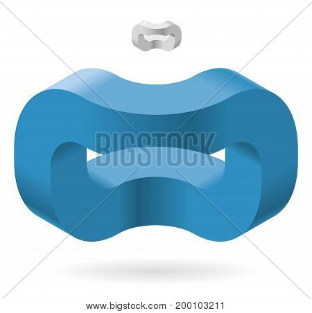 Blue isometric arched shapes, isolated on white background. Spatial paradox, Esher's infinite staircase principle, abstract object. Three-dimensional round shapes, brain teaser. Low poly vector.
