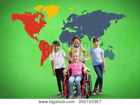 Digital composite of Disabled girl in wheelchair with friends in front of colorful world map