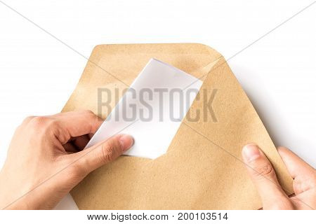 hand opening brown Document Envelop with paper isolated on white background
