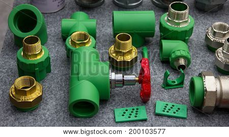 PPR water pipe fittings display on shelf