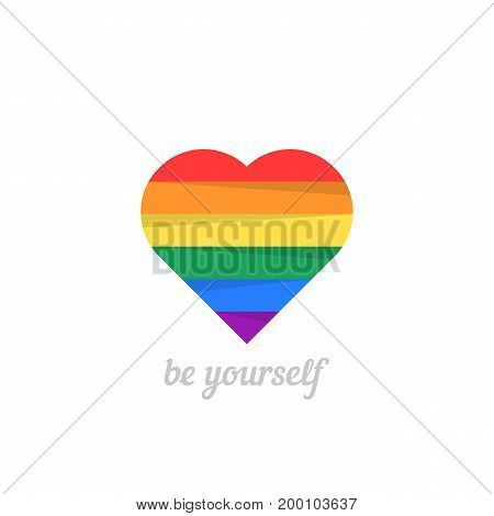 be yourself with iridescent heart. concept of non-traditional, happy valentine day, lifestyle, gender, matrimony. isolated on white background. flat style trend modern logo design vector illustration