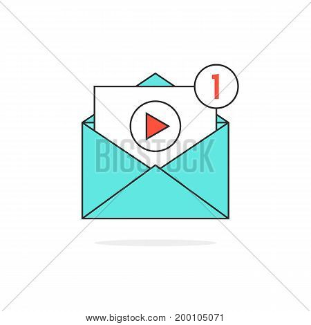 outline video notification in letter. concept of e-mail, sharing movie, channel, chat, livestream, button, file, seo. isolated on white background. flat trend modern logo design vector illustration